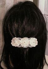 1 XPince Barrette Accessoire à cheveux 3 fleurs blanc★Fait main Mariage Fête