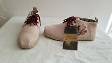 Toms Bota Floral Embroidery Leather Rope Sole Womens Shoes