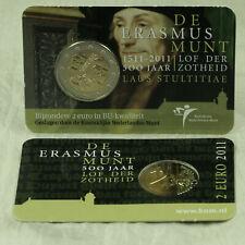 2 EURO MÜNZE GEDENKMÜNZE COIN CARD COINCARD NIEDERLANDE ERASMUS 2011 BU ST NEU