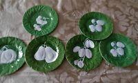 Majolica Bordallo Pinheiro ,E.Reinha Dark Green Cabbage leaf Vintage Complete se
