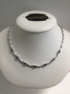 """18k White Gold Sapphire and Diamond Necklace 16"""""""