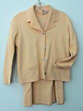 Vtg 3 Pc Yellow Wool Suit Amalfi Imports Bullocks Sm Sz 10 Sweater Skirt Jacket