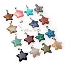Wholesale  Beautiful 50Pcs  Mixed  Natural Gemstone star Pendant Bead FREE