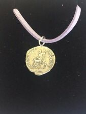 "Denarius Of Nero Pewter Coin WC21 Made From Pewter On 18"" Purple Cord Necklace"