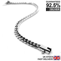 Men's 925 Sterling Silver 6mm Heavy Dense Curb Chain Bracelet✔️Solid✔️Quality