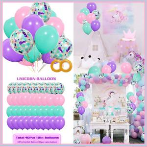 "Unicorn Balloons 40 Pack 12"" Light PURPLE PINK Seafoam BLUE Latex & Confetti"