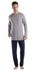 Hanro Night & Day Jersey Top & Bottoms Men's Pyjama Gift Set, Grey/Navy