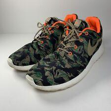 5b3c5772b4a9 Men s Nike Roshe Run Tiger Print Camo Olive Bamboo Running Shoes 655206-203  ...