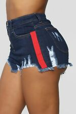 Dark Blue Wash Denim High Rise Waist Distressed Mini Stylish Shorts Medium M