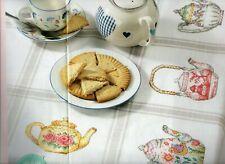 Cross stitch chart. Pretty teapots tablecloth.