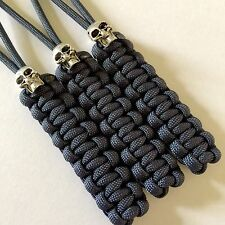 550 Paracord Knife Lanyard Navy Blue Cord 3 Pk Non-gutted, Metal Skull Beads