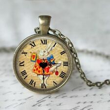 UK ALICE IN WONDERLAND NECKLACE White Rabbit / Vintage Style Jewellery Gift Idea