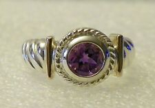Sterling Silver Bezel-set Amethyst Ring with 14K Yellow Gold Accents -  8