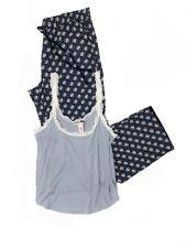Victoria's Secret Pajama Blue Pants & Ribbed Tank-Top Set Size M