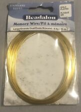 Beadalon Memory Wire Oval Bracelet Large Gold Plated, 9.9g 0.35-Ounce New