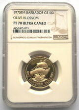 Barbados 1975 Olive Blossom 100 Dollars NGC PF70 Gold Coin,Proof