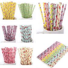 25* Coloré Papier Pailles pour boire rétro vintage floral fête mariage NEUF
