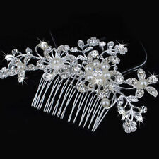 Rhinestone Crystal Flower Pearls Wedding Bridal Tiara Bride Hair Comb Headpiece 3#