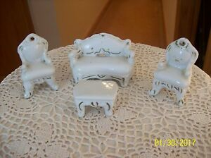 Doll House Vintage Porcelain Parlor Set Coach, 2 Chairs & Coffee Table