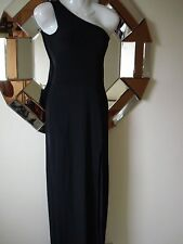 BNWT BOOHOO BLACK STRETCHY ONE SHOULDER FRONT SPLIT SLINKY MAXI DRESS - SIZE 8