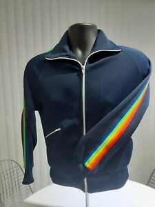 Vintage Rainbow Stripes Navy Blue Zipper Track Suit Jacket Sweater Size Small