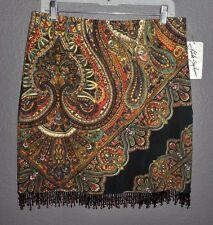 Linda Segal for Creative Image Multi-Color Beaded Hemline Skirt Sz 10  NwT!