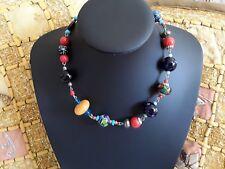 vintage venetian glass beaded millifori mixed bead necklace small man bead metal