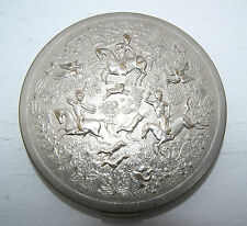 "Vintage Vtg Tussy Silver Tone Persian Hunting Scene Compact - 2 5/8"" Diameter"