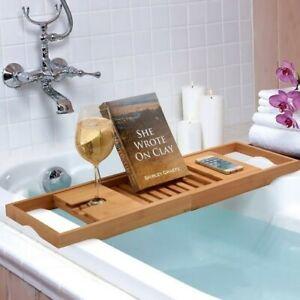 Bathtub Caddy Bamboo Bath Tub Holder Bathroom Tray Rack Glass