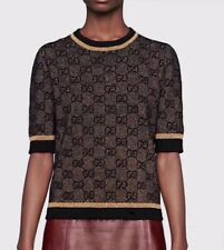 Authentic NWT Gucci GG Logo Brown Golden Sweater Top Medium Short Sleeve