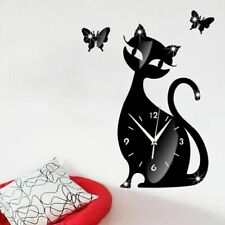 Creative Acrylic Mirror Cute Cat Wall Clock Sticker Diy Living Room Art Decor