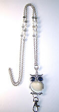 White Crystal Owl & Silver Flower Beaded Lanyard Necklace / ID Badge Cruise Card