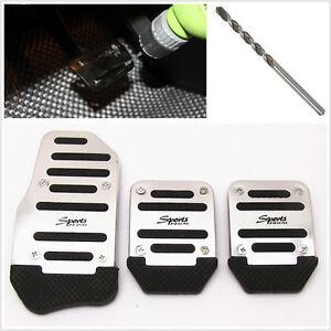 3 pcs Car Manual Brake Clutch Accelerator NonSlip Foot Pedal cover Belt Drill