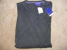 NWT $85 ALAN FLUSSER charcoal grey argyle cashmere v-neck golf SWEATER XXL 2XL