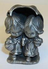 Vintage Betsey Clark Pewter Figurine Girls Walking Under Umbrella