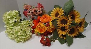 5 Bunches Variety of Silk Flowers Floral Bridal Wedding Bouquet Home Party Decor