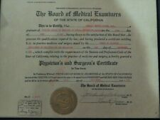 1958 Certificate STATE OF CALIFORNIA BOARD OF MEDICAL EXAMINERS LICENSE  Seal