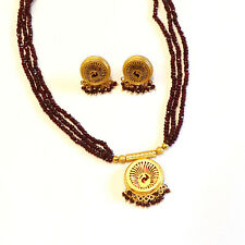Ruby Gemstone Thewa Jewelry Gold Plated Sterling Silver Jewelry Necklace Set
