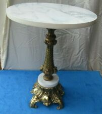Faux Marble Top Side Table, Plant Stand Vintage Filigree Brass Base