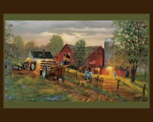 Americas Heartland  digital Panel Cotton quilt fabric tractor 36 x 44
