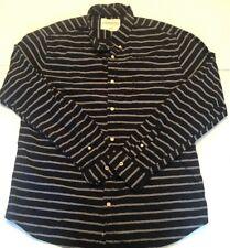 Aeropostale Mens XL Long Sleeve Button Up Shirt Navy Blue Gray Stripe