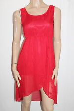 Unbranded Designer Red Chiffon Sleeveless Day Dress Size XS BNWT #TA87
