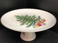 "Christmas Serving Platter Pedestal Cake Plate Cookie Dish Ceramic 10.5"" Holiday"