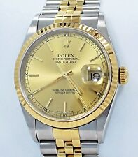 Rolex Datejust 16233 Jubilee 36mm 18K Yellow Gold /SS Sticks Dial Watch *MINT*