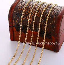 """Bulk Wholesale 5pc 2mm Gold Women's Water Wave Twisted Magic Necklace Chains 18"""""""