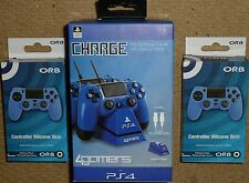 SONY PLAYSTATION 4 PS4 DUAL USB CHARGE STAND CONTROLLER DOCK STAND + COVERS NEW!