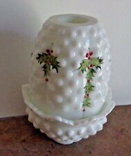 Fenton  Milk Glass 2p Hobnail Fairy Light Hand Painted Hollies Signed D.BARBOUR
