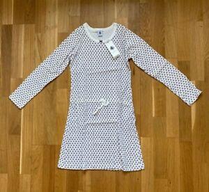 NEU: Kleid PETIT BATEAU Blumen (NP: 59€) Baumwolle, weiß, Gr. 140