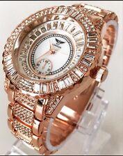 Men's Watch Posh Luxury Diamanté Rose Gold Metal Strap Dressy Designer Smart UK