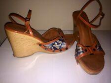 Sonia Rykiel Paris Monogram Leather Sandal Wedge Platform Womens Shoes Size 8